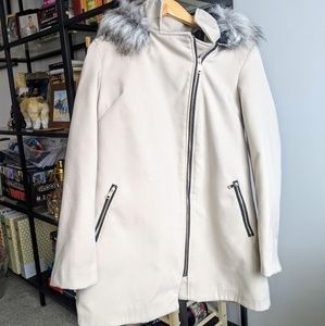 Jackets & Blazers - Tan faux fur hooded coat size 10/ Large